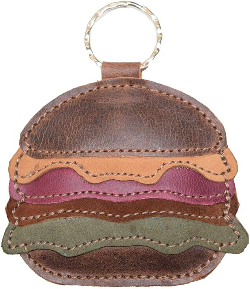 Hide & Drink, Leather Hamburger Keychain Key Ring Holder, Fast Food Burger Gifts Ideas Accessories, Handmade :: Multicolor