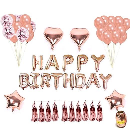 Hotchy Geburtstag Dekoration Rosegold Geburtstagsdeko Set Mit 16