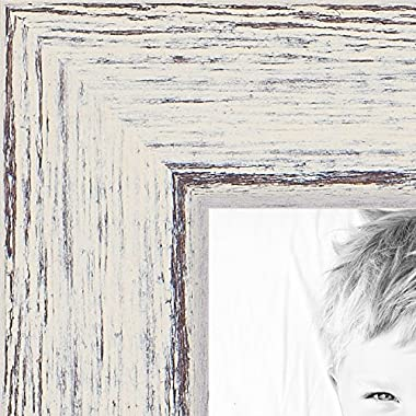 ArtToFrames 8x12 inch Eggshell Rustic Barnwood Wood Picture Frame, WOM0066-1343-YWHT-8x12