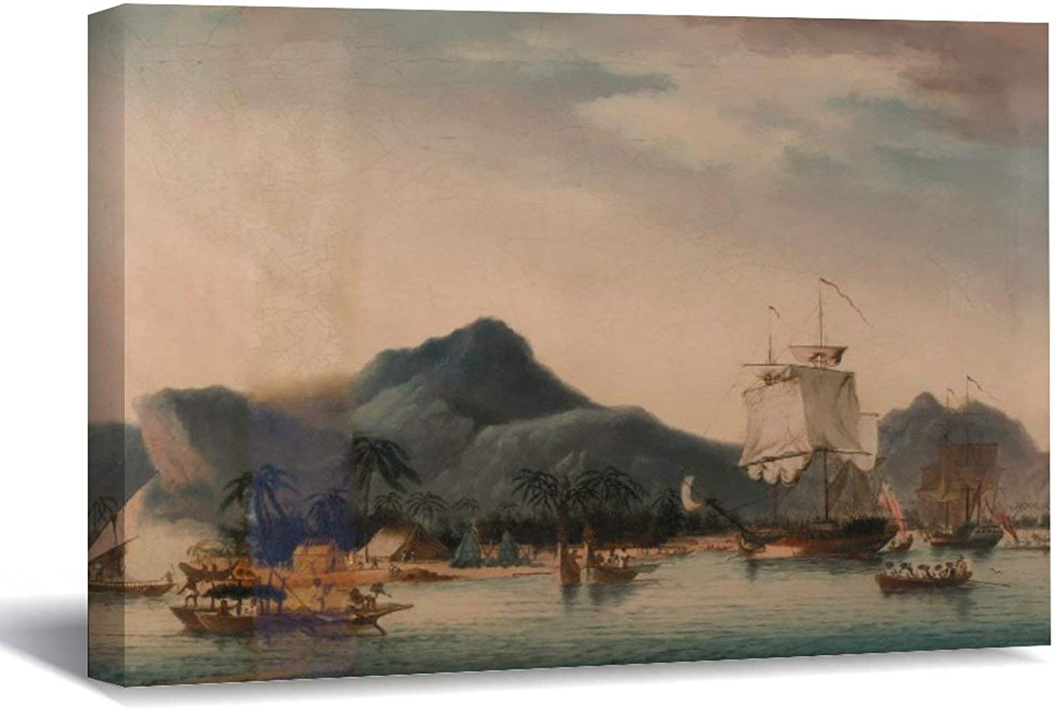 Vintage The Resolution and Discovery Off Hawaii Canvas Picture Painting Artwork Wall Art Poto Framed Canvas Prints for Bedroom Living Room Home Decoration, Ready to Hanging 16