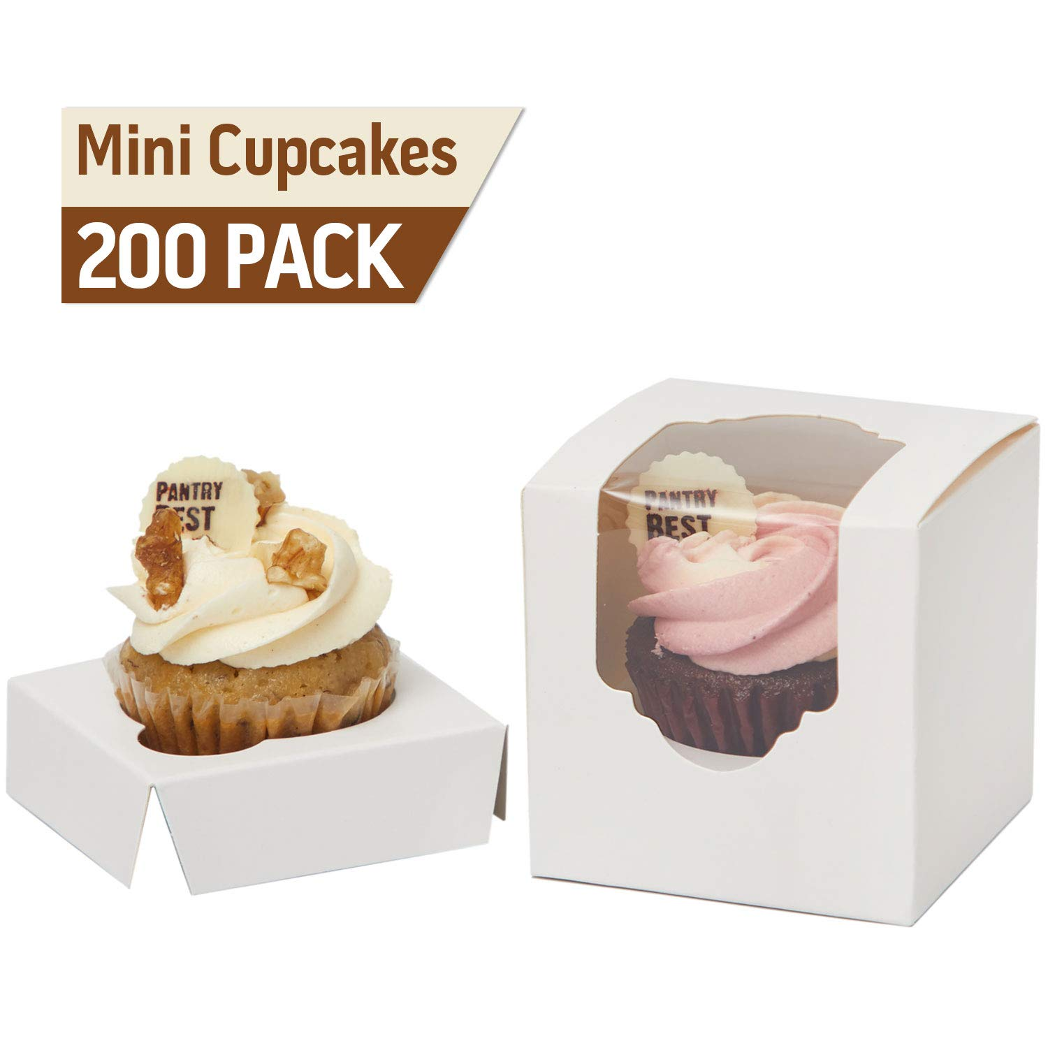 Yotruth Individual Mini Cupcake Box White 2.5'' x 2.5'' x 2.5'' Wholesale with Window and Insert 200 Pack