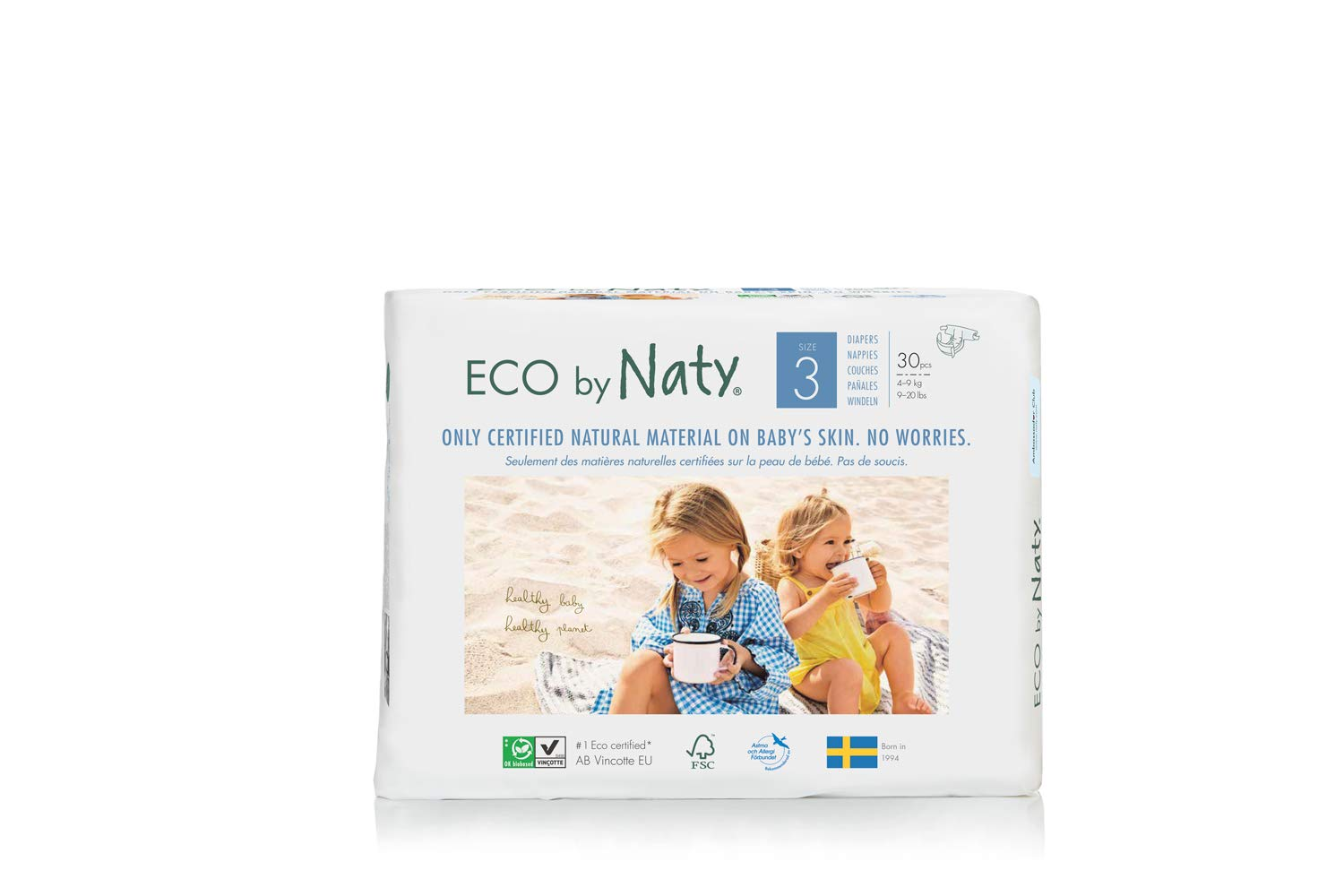 Amazon.com: Eco By Naty Premium Disposable Diapers for Sensitive Skin, Size 3, 180 Count, 14.13 Pound: Health & Personal Care