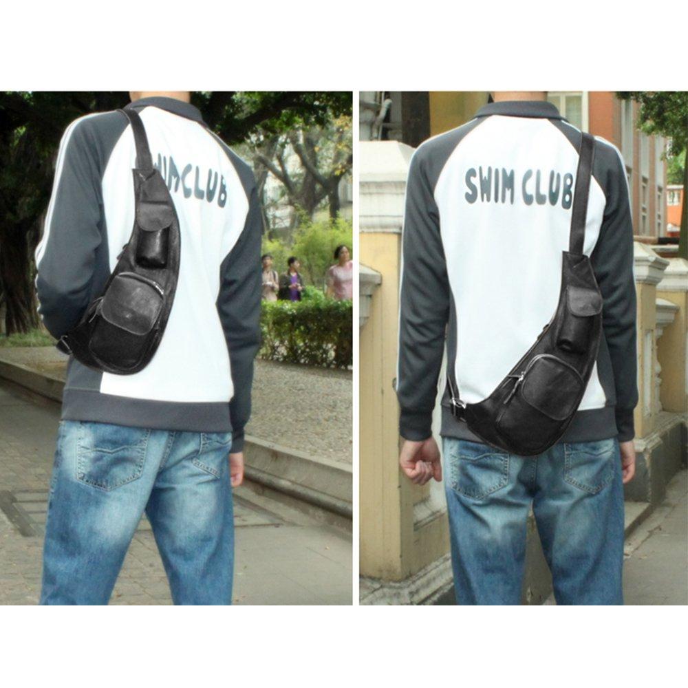 4f7a5dd268e BAIGIO Men Sling Bag, Charminer Genuine Leather Chest Shoulder Bags Casual Crossbody  Bag Travel Hiking