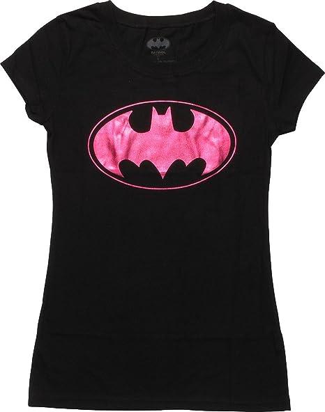 219a70fb6a88 Amazon.com: Batman Batgirl Purple Foil Logo Juniors T-Shirt: Clothing