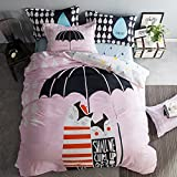 Cliab Cat Bedding Set Queen Size Pink and Red Girls 100% Cotton Duvet Cover Set 4 Pieces