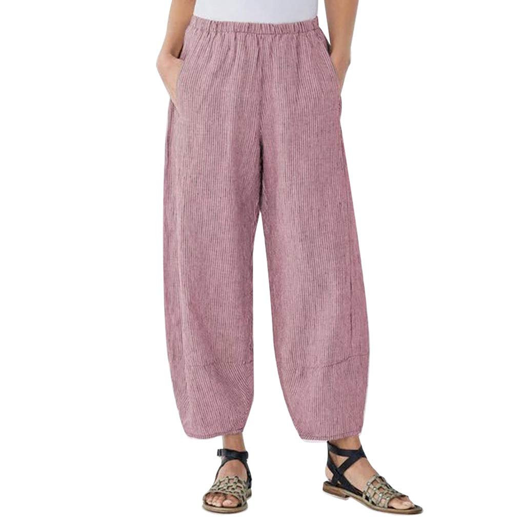 BBesty Save 15/% Womens Plus Size Soild Color Comfort Straight Wide Leg Loose Striped Pocket Trousers Pants