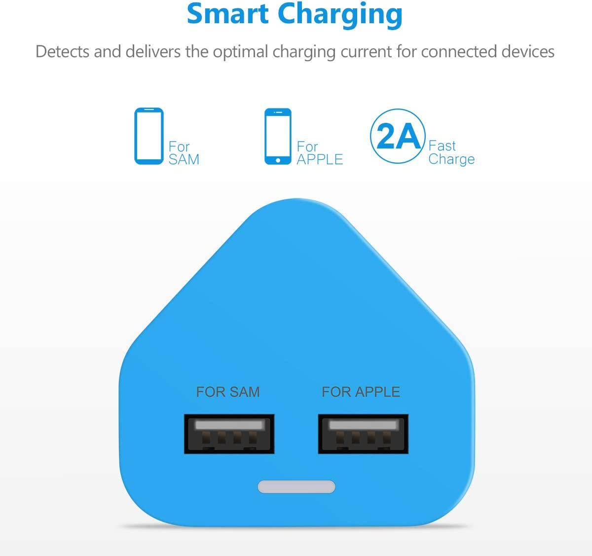 blue /  usb plug UK/ 3/ Pin/ Plug/ USB/ Mains/ Charger/ Adapter,/ Dual/ 2AMP/ 2000mAh/ Fast/ Speed/ Universal/ Travel/ USB/ Wall/ Charger