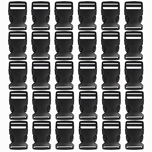 Plastic Clasp - 20Pack Black Buckle Adjustable Release Buckles Plastic Clasp for DIY Making Luggage Strap, Pet Collar, Backpack Repairing(1 inch)
