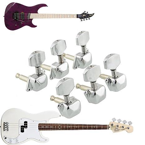 6 x Clavijas Llave Llaves Afinación Guitarra Eléctrica Bajo Tuning + Tornillos