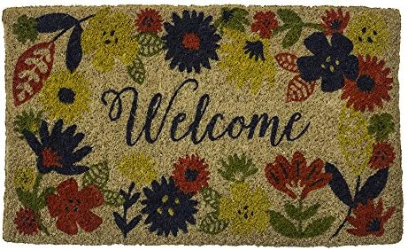 Entryways Solstice Handmade, Hand-Stenciled, All-Natural Coconut Fiber Coir Doormat, 18 X 30 X .75
