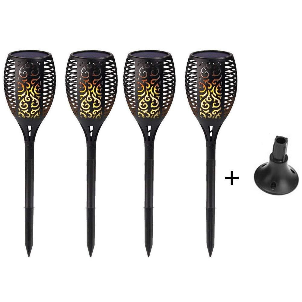 SEniutarm Waterproof LED Solar Power Flame Torch Lamp Garden Lawn Decor Light 2/4Pcs Warm Yellow 4Pcs + Base