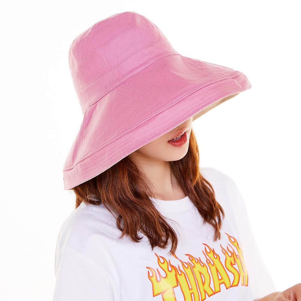 UV50 Foldable Sunhat Women Ponytail Hole Safari Beach Fishing Bucket Hat joy wisdom Sun Hat Pink