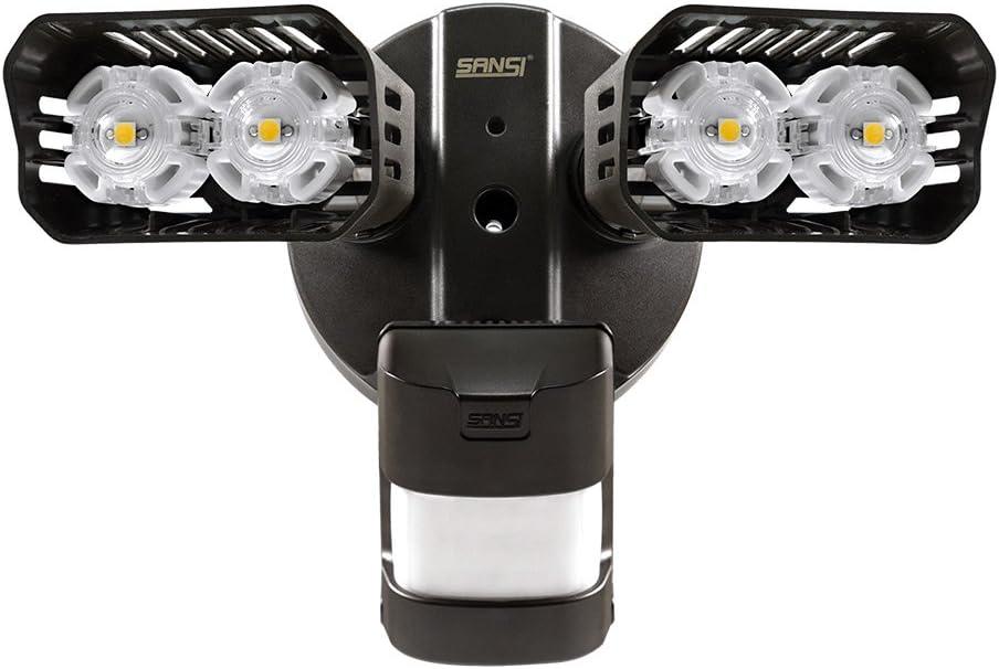 SANSI LED Security Lights, 18W 150Watt Incandescent Equiv. Motion Sensor Lights, 1800lm 5000K Daylight Waterproof Outdoor Floodlights with Adjustable Dual-Head