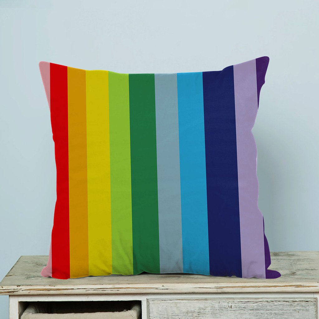 Advanced technology Printed Popular Abstract Colorful Rainbow Stripes Custom Zippered Pillow Cases 18x18 inches(Two sides) LOVEIOAXKJ