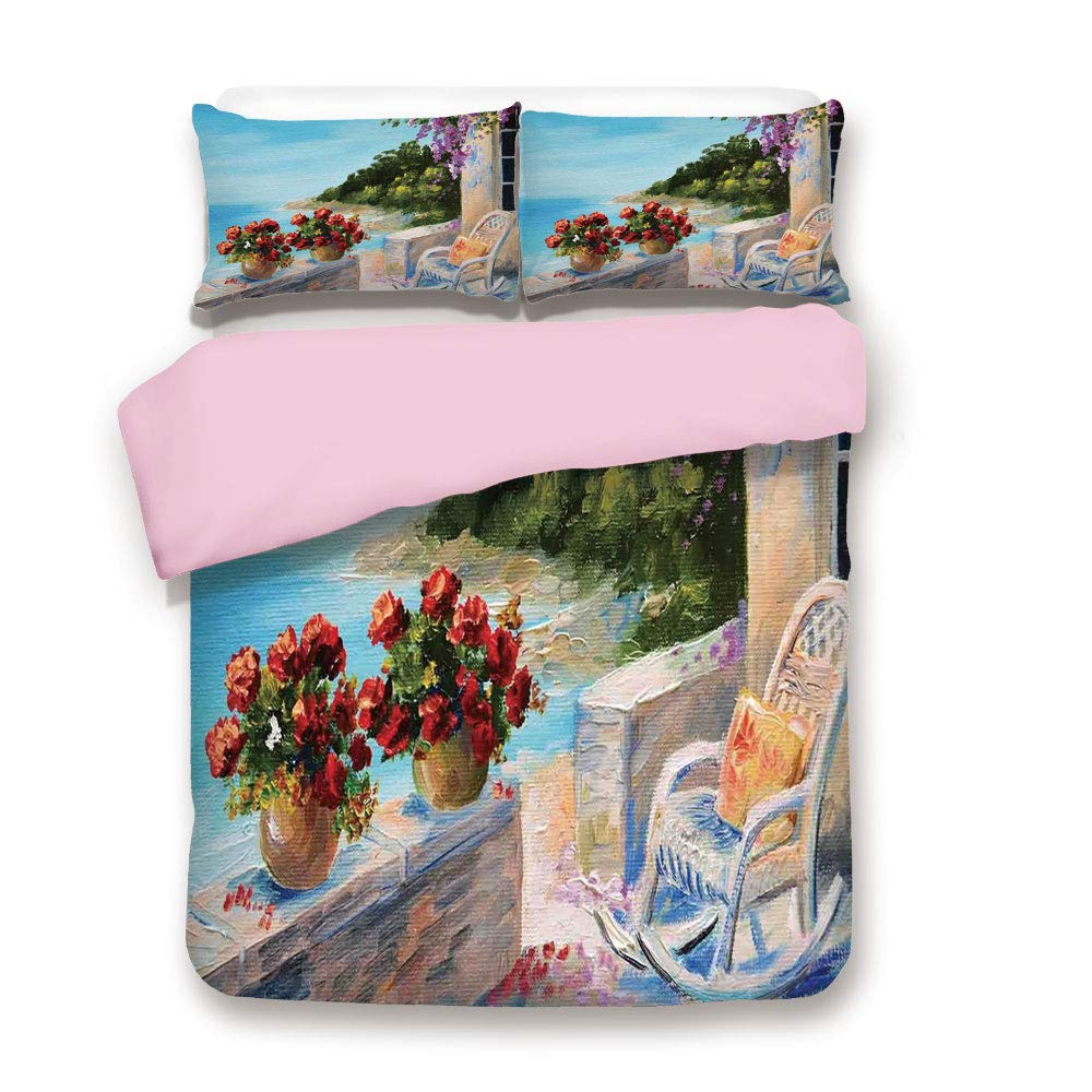 Pink Duvet Cover Set,King Size,Sea View Balcony with Cosy Rocking Chair Flowers in Summer Sky Oil Painting Style,Decorative 3 Piece Bedding Set with 2 Pillow Sham,Best Gift for Girls Women,Multicolor