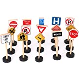 Biowow Kids Wooden Block Street Traffic Signs Playset Children's Educational Toys for Traffic Knowledge Learning 15Pcs