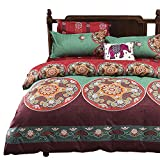 Purple and Turquoise Duvet Cover Vaulia Lightweight Microfiber Duvet Cover Set, Bohemia Exotic Patterns, Reversible Color Design - Queen Size