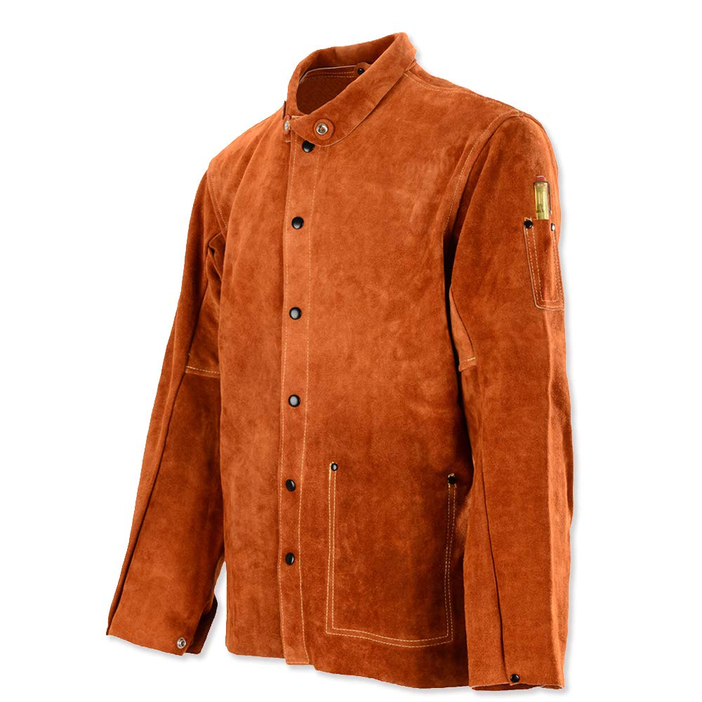 QeeLink Leather Welding Work Jacket Flame-Resistant Heavy Duty Split Cowhide Leather (XXXX-Large) Brown