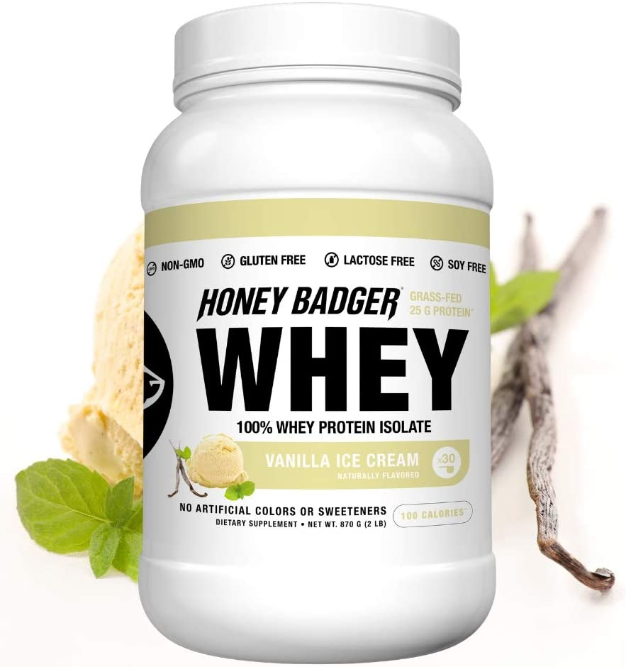 Honey Badger Natural Keto 100% Whey Protein Isolate (BCAA, Amino Acids, Digestive Enzymes, Grass-Fed, Hormone Free, Post Workout, Recovery, Naturally ...