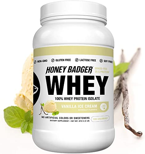 Honey Badger Natural Keto 100 Whey Protein Isolate Vanilla Ice Cream Gluten Free Paleo Amino Acids BCAA Digestive Enzymes Hydrolyzed Grass-Fed Protein Supplement Sucralose Free 2 Lb