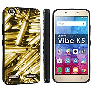Lenovo Vibe K5 Armor Case [Skinguardz] [Black/Black] Shock Absorbent Hybrid Case - [Bullet Golden] for Lenovo Vibe K5