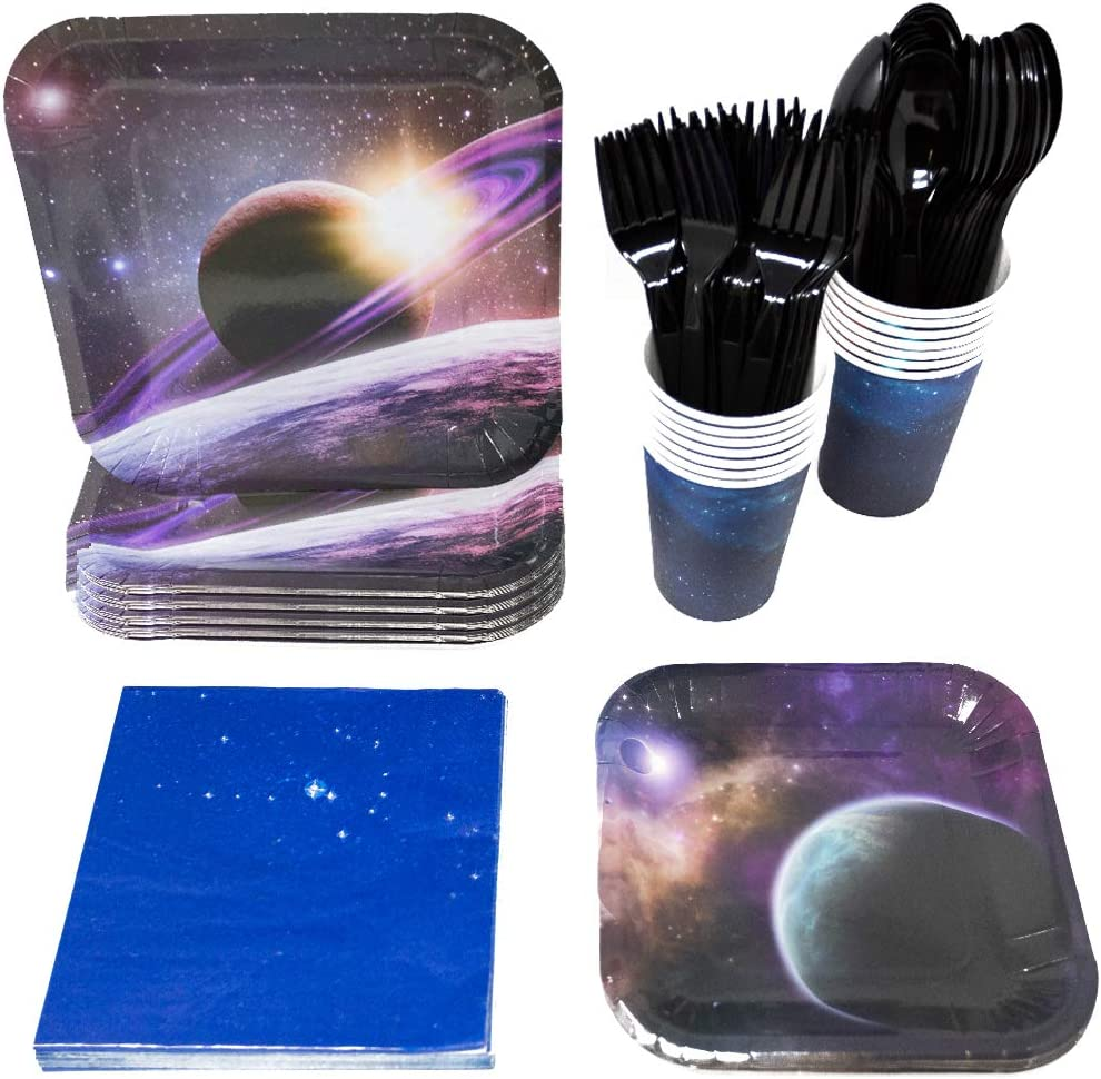 Blue Orchards Space Party Supplies Packs (113+ Pieces for 16 Guests!), Space Birthdays, Science Parties