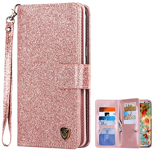 Galaxy S8 Case, Samsung Galaxy S8 Case, BENTOBEN Galaxy S8 Wallet Case Glitter Faux Leather Flip Credit Card Holder Wristlet Shockproof Protective Case for Samsung Galaxy S8 2017 (5.8 Inch), Rose Gold