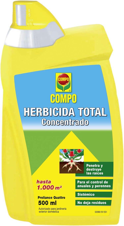 Compo Herbicida Total, Spray Concentrado, Sistémico, Sin residuos, Apto para jardinería Exterior doméstica, hasta 1000 m², 500 ml: Amazon.es: Jardín
