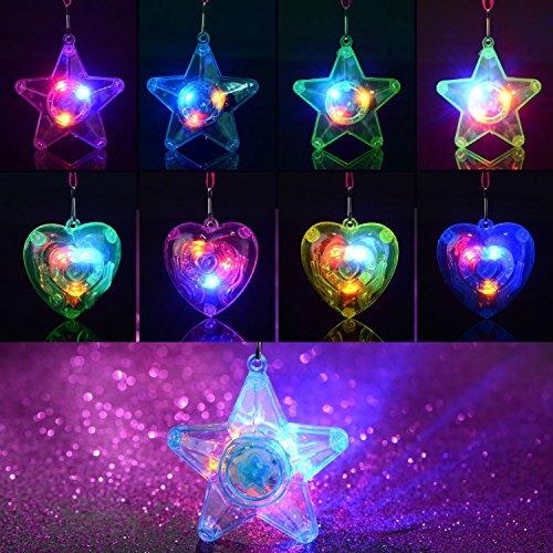 BAOQISHAN 36PCS Colorful LED Sparkle Plastic Necklace and Shining Pendants (18pcs Pentacle Star and 18pcs Heart Shape) -
