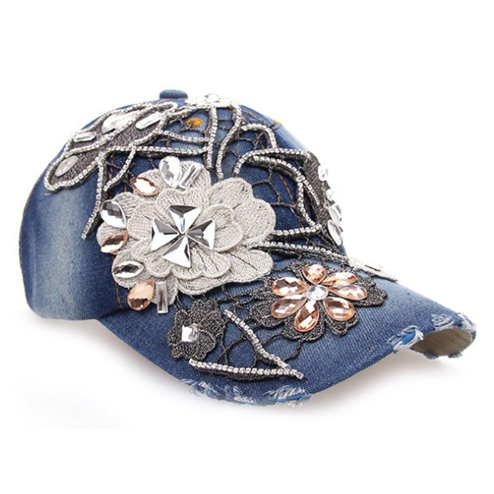 Deer Mum Lady Denim Studded Rhinestone Crystals Floral Design Baseball Cap