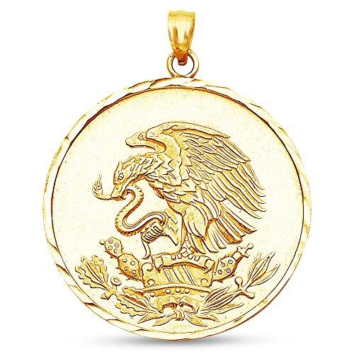 - Sonia Jewels 14K Yellow Gold Diamond-Cut Ornate Mexican Eagle Pendant Charm (30x30 mm)