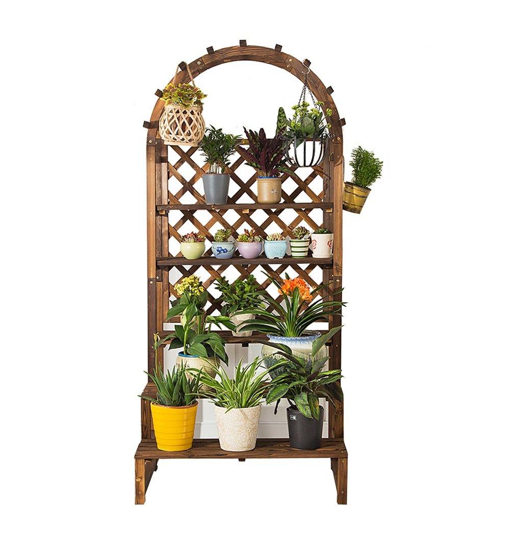PHTW WNQ Vaso per piante cremagliera per interni ed esterni soggiorno anti-corrosione pavimento in legno pianta stand balcone in legno fiore stand ciondolo in legno massello multistrato A+