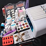 Baisidai Nail Art Kit UV Builder Gel White 36W Timer Dryer Lamp Decorations full Tools Set