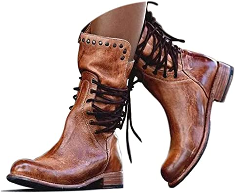 Womens Comfy Inside Zip Lace Up Round Toe Platform Rider Boots Mid Block Heel Ankle Booties