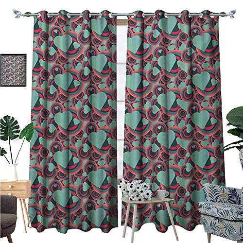 Romantic Room Darkening Wide Curtains Valentines Day Pattern with Bullseye Circles and Love Symbols Ornate Heart Shapes Decor Curtains by W72 x L96 Multicolor (Light Bullseye Plum)