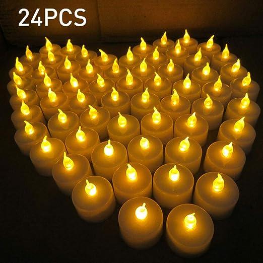 Decdeal 24pcs LED Luces de Vela para Aniversario de Boda ...