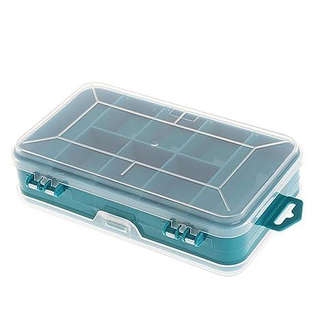 Caja de almacenamiento de tornillos portátil transparente de doble cara multifuncional para herramientas de almacenamiento (