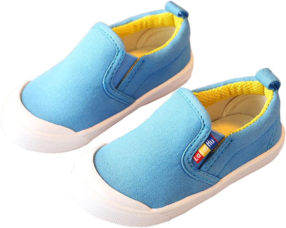 Bakerdani Candy Color Kids Canvas Sneaker Slip-on Boys Girls Casual Shoes
