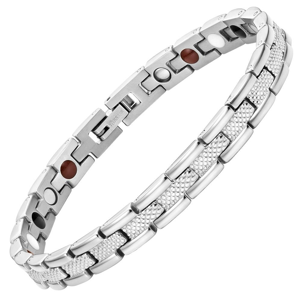 Willis Judd Womens Strong 4 Element Titanium Magnetic Therapy Bracelet for Arthritis Pain Relief Size Adjusting Tool and Gift Box Included