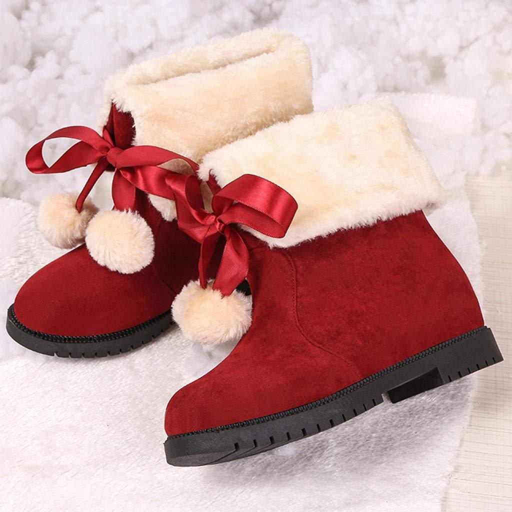 Berimaterry Botas de Nieve Mujer Invierno Forradas Calientes Planos Fur Calentar Ca/ña Altas Piel Antideslizante C/álidas Botines Snow Boots Casual Christmas Bola de Pelo Booties