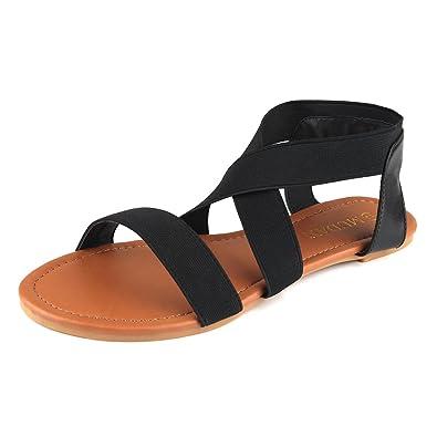 MuDan Women's Elastic Flat Sandals Silver 10 B(M) US