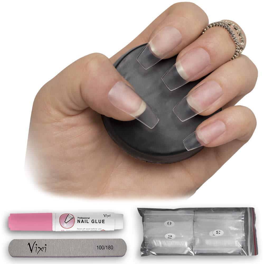 By Vixi MEDIUM COFFIN/BALLERINA NAIL SET with FREE GLUE & PREP FILE, 12 Sizes – Clear Express Full Cover False Fingernail Extensions for Salon Professionals & Home Use (600 Clear Coffin)
