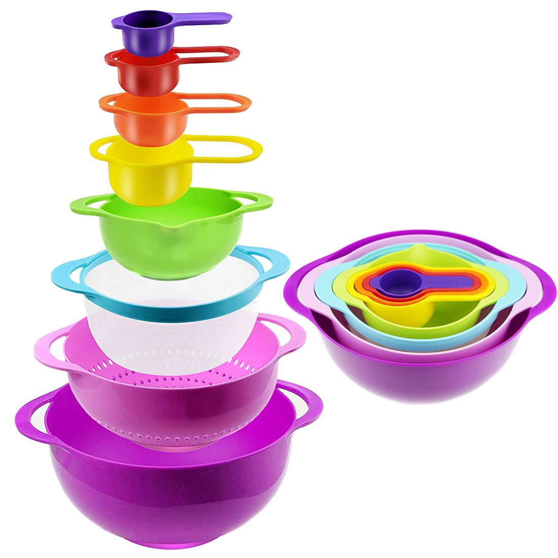 8 pc Color Compact Food Prep Nesting Mixing Bowl Set Plastic - with Non Slip Bowls, Colander, Sieve and Measuring Cups Stackable Kitchen Dishwasher Safe Salad, Cake and Bakery, Vegetable, Fruit
