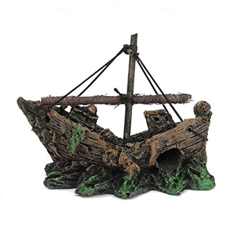 El pirata barcos en acuarios, Kaiki tanque de peces adorno de acuario naufragio barco Hundido