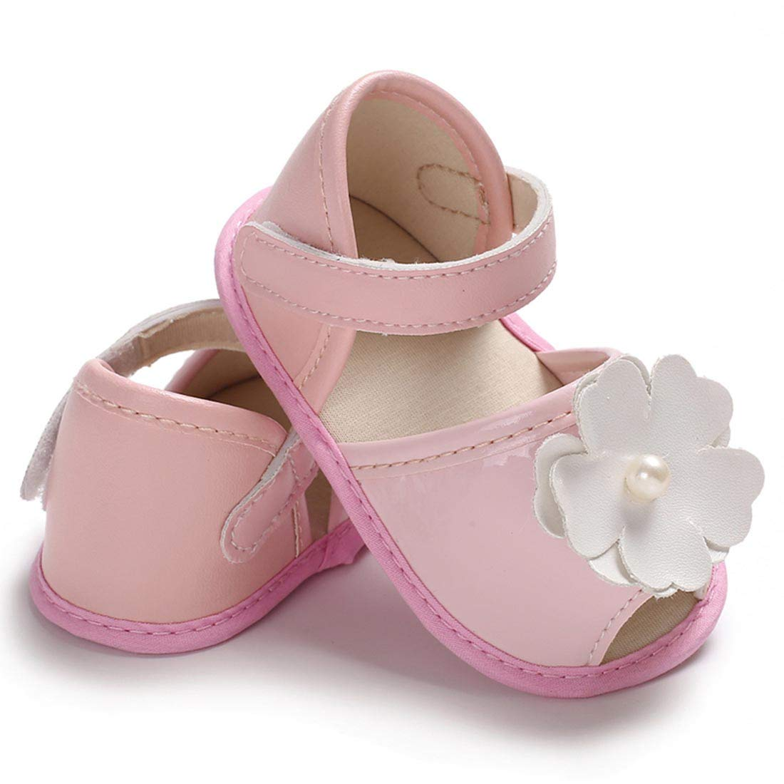 YIBLBOX Baby Girls Summer Open Toe Flower Crib Shoes Infant Sandals First Walkers