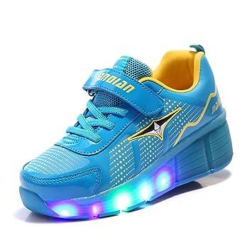 KODOO Kids Single Wheel Sneakers Led Light Roller Skates Flashing Skate  Shoes for Girls and Boys 92113a116