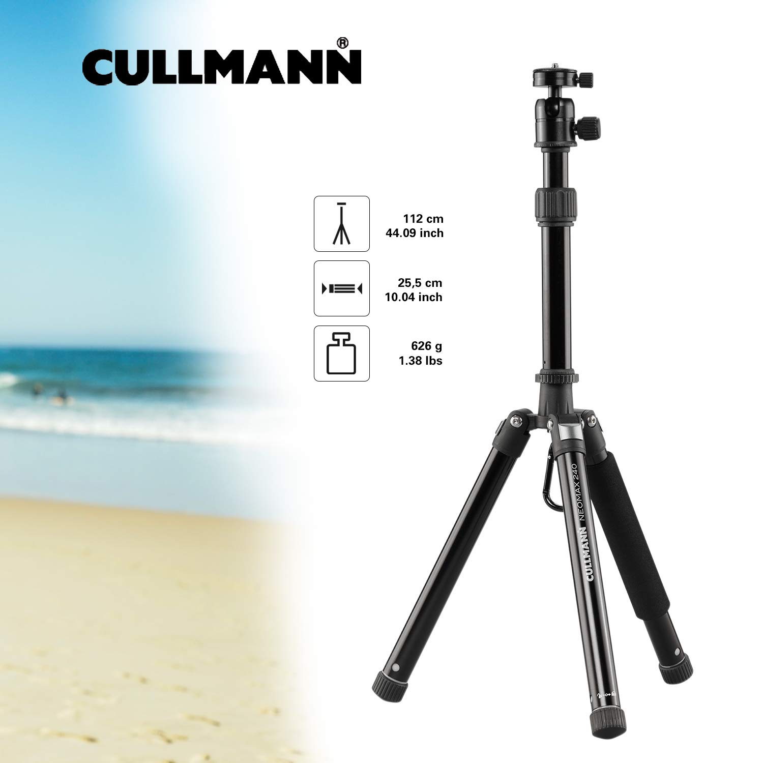 Cullmann 52524 NEOMAX 240 Light Travel Tripod with Telescopic Extension for Camera - Black by Cullmann
