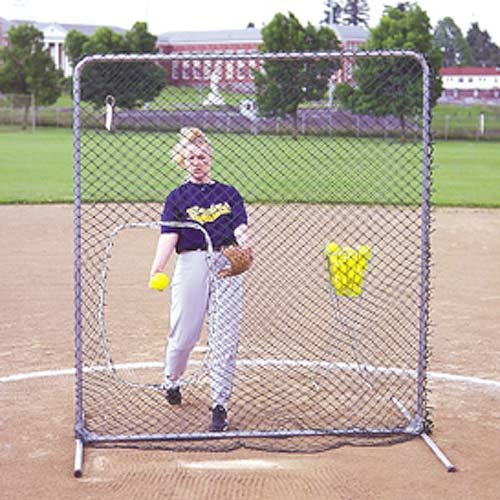 Jugs Quick-snap Softball Screen with Ball Pouch, 6 - Feet by Jugs