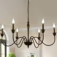 6-Light Farmhouse Chandeliers Black Classic Candle Ceiling Pendant Light Fixture Rustic Ceiling Chandelier for Foyer…