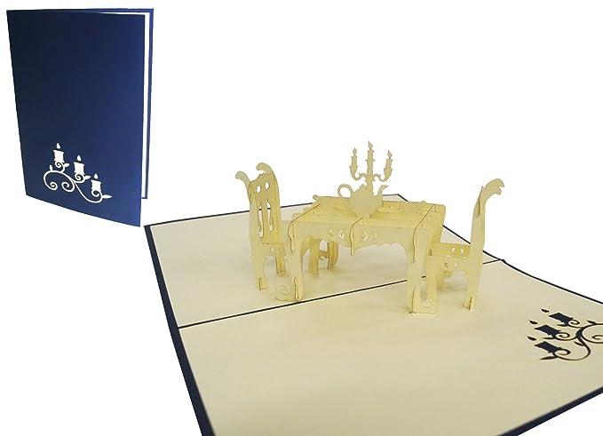 Gru/ß gemeinsames Abendessen und Candle-Light Dinner /& Gl/ückwunschkarte f/ür Essens-Einladung und Restaurant-Gutschein 3D Pop-Up Karte f/ür Feierlichkeiten